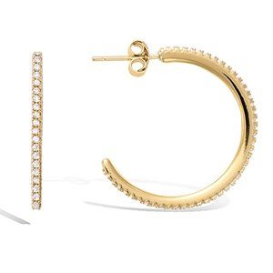 🇫🇷25mm 18K Gold CZ Pave Hoops Made in France